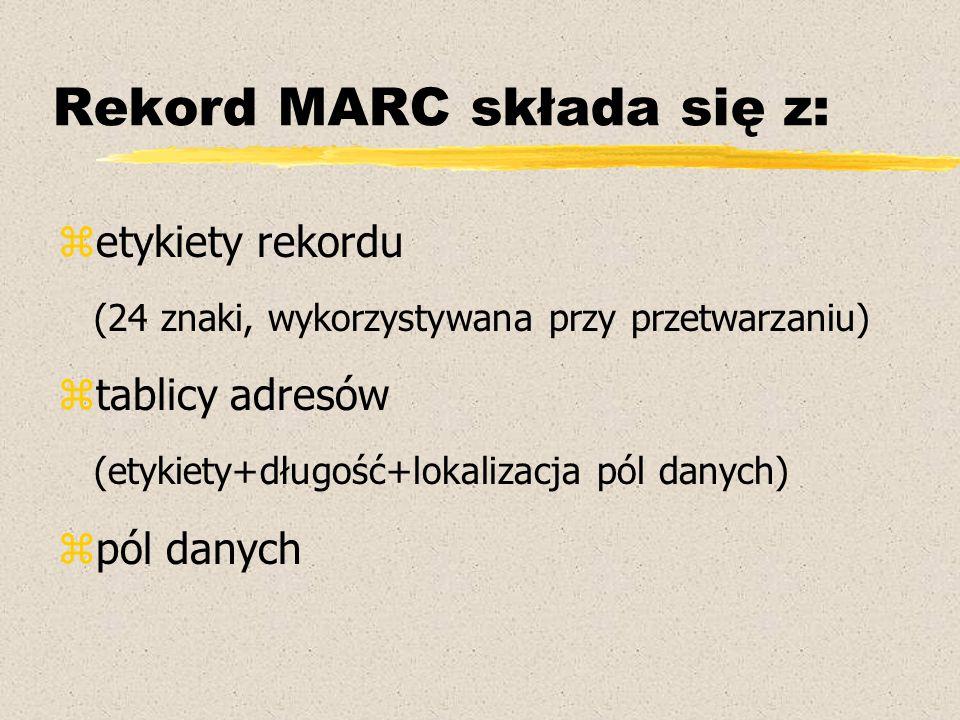 Rekord MARC składa się z: zetykiety rekordu (24 znaki, wykorzystywana przy przetwarzaniu) ztablicy adresów (etykiety+długość+lokalizacja pól danych) z