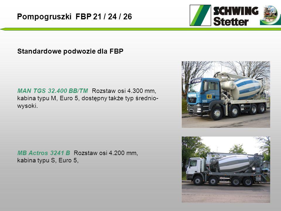 Standardowe podwozie dla FBP MAN TGS 32.400 BB/TM Rozstaw osi 4.300 mm, kabina typu M, Euro 5, dostępny także typ średnio- wysoki.