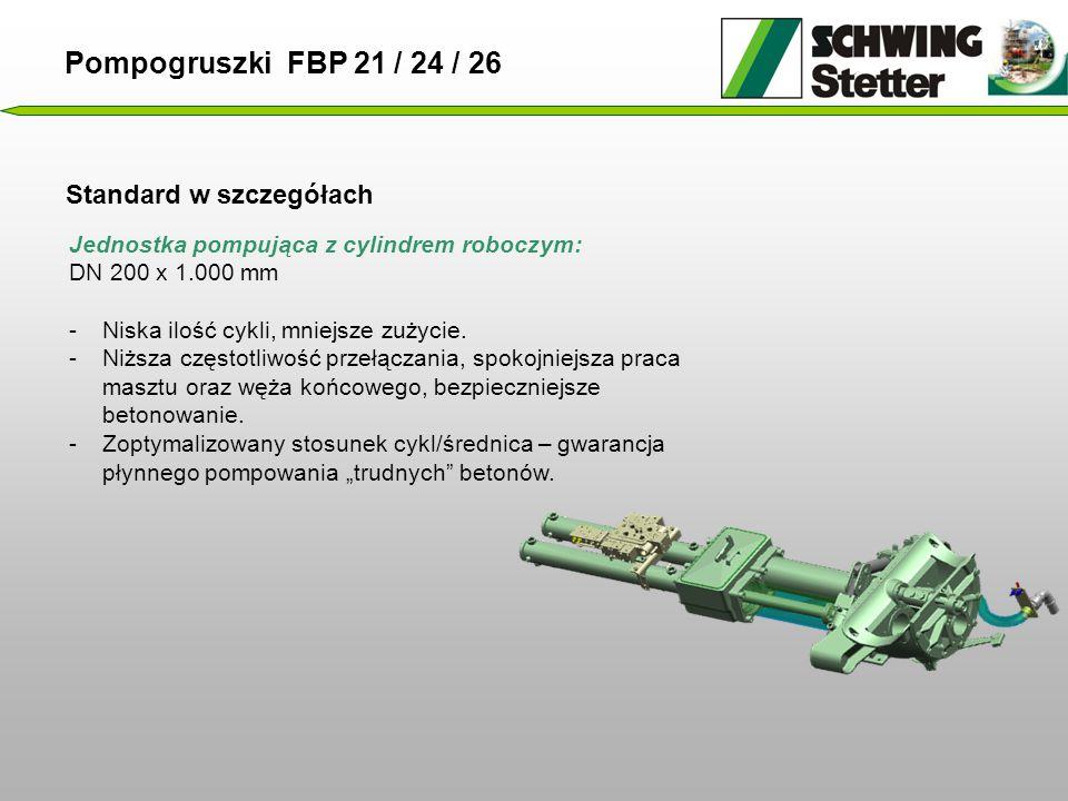 Standard w szczegółach Jednostka pompująca z cylindrem roboczym: DN 200 x 1.000 mm -Niska ilość cykli, mniejsze zużycie.