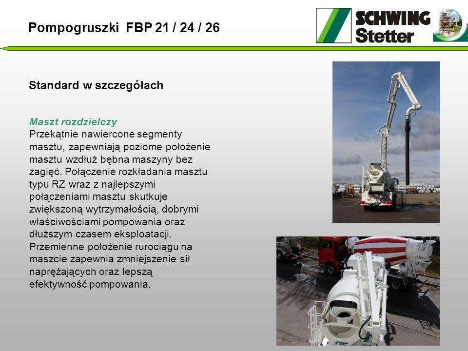 Standard w szczegółach Pompogruszki FBP 21 / 24 / 26 Maszt rozdzielczy Przekątnie nawiercone segmenty masztu, zapewniają poziome położenie masztu wzdłuż bębna maszyny bez zagięć.