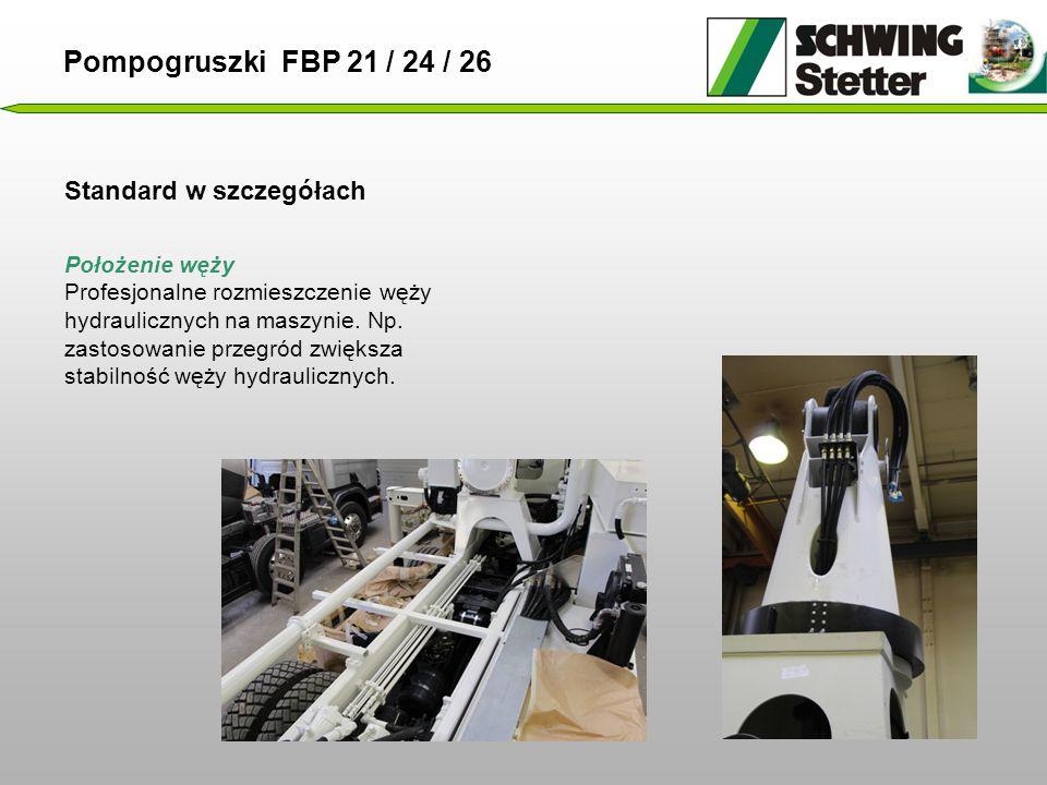 Standard w szczegółach Pompogruszki FBP 21 / 24 / 26 Położenie węży Profesjonalne rozmieszczenie węży hydraulicznych na maszynie.