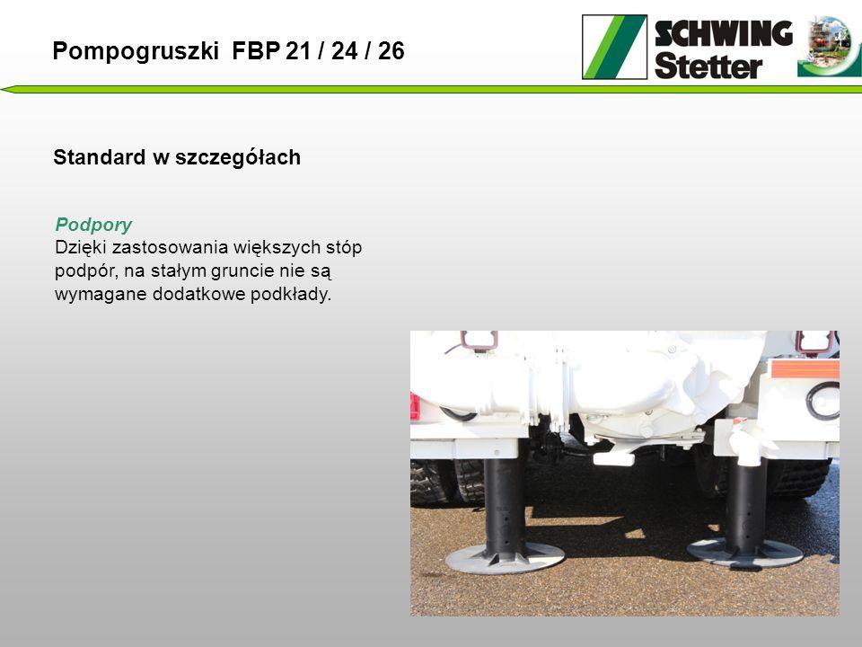 Standard w szczegółach Pompogruszki FBP 21 / 24 / 26 Podpory Dzięki zastosowania większych stóp podpór, na stałym gruncie nie są wymagane dodatkowe podkłady.