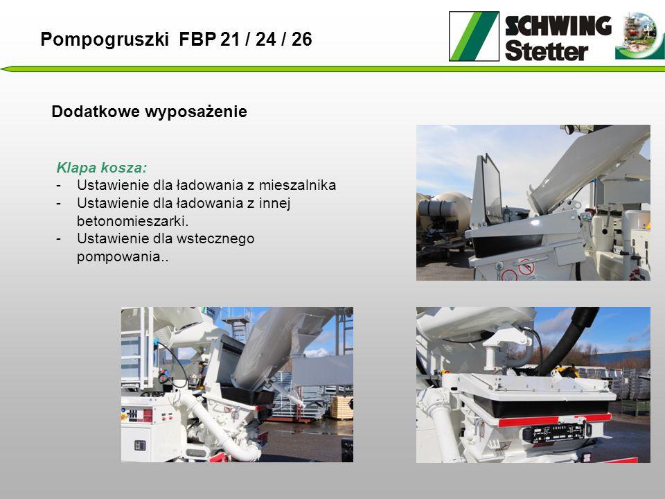 Dodatkowe wyposażenie Pompogruszki FBP 21 / 24 / 26 Klapa kosza: -Ustawienie dla ładowania z mieszalnika -Ustawienie dla ładowania z innej betonomieszarki.