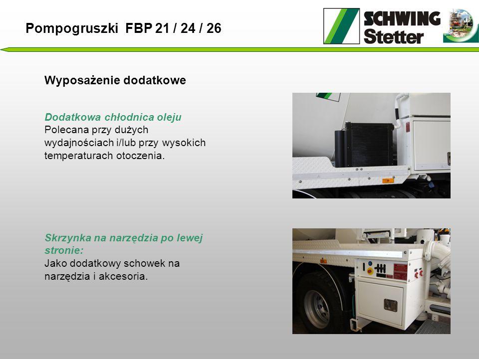 Wyposażenie dodatkowe Dodatkowa chłodnica oleju Polecana przy dużych wydajnościach i/lub przy wysokich temperaturach otoczenia.