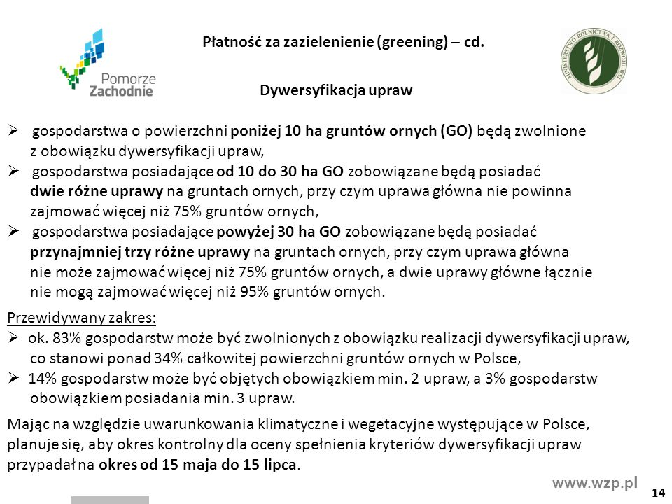 www.wzp.p l Dywersyfikacja upraw  gospodarstwa o powierzchni poniżej 10 ha gruntów ornych (GO) będą zwolnione z obowiązku dywersyfikacji upraw,  gos