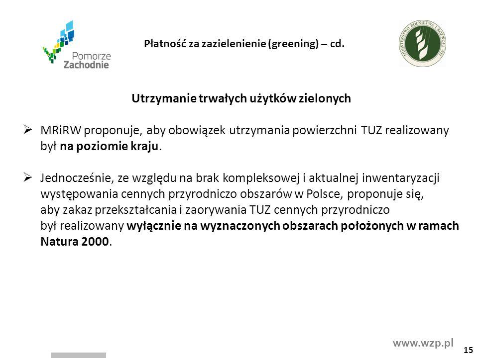 www.wzp.p l Utrzymanie trwałych użytków zielonych  MRiRW proponuje, aby obowiązek utrzymania powierzchni TUZ realizowany był na poziomie kraju.