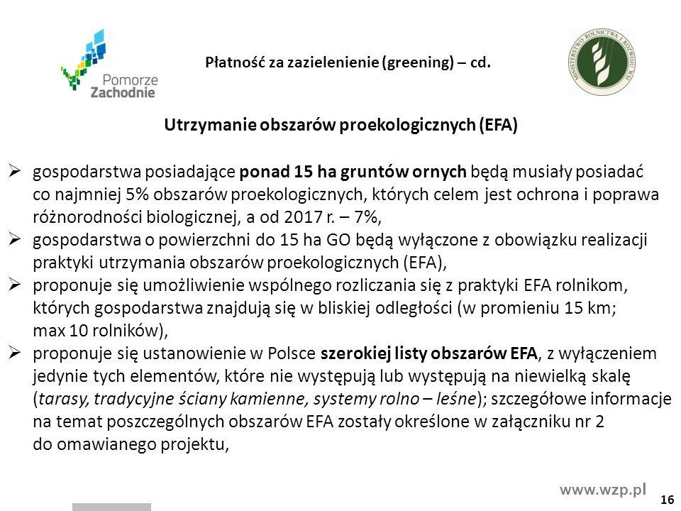 www.wzp.p l Utrzymanie obszarów proekologicznych (EFA)  gospodarstwa posiadające ponad 15 ha gruntów ornych będą musiały posiadać co najmniej 5% obszarów proekologicznych, których celem jest ochrona i poprawa różnorodności biologicznej, a od 2017 r.