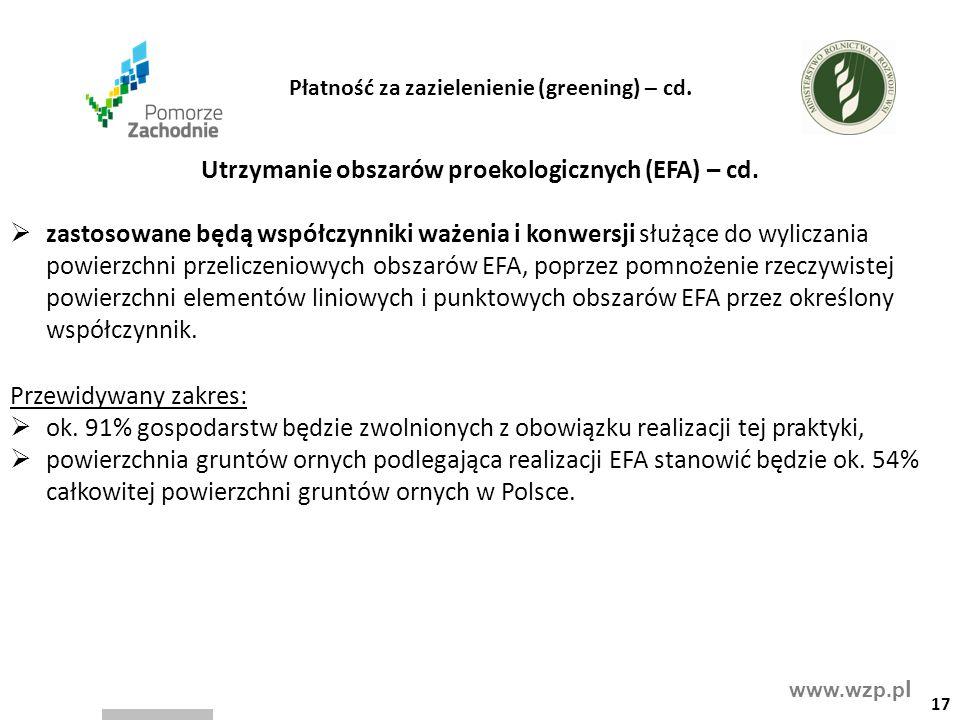 www.wzp.p l Utrzymanie obszarów proekologicznych (EFA) – cd.  zastosowane będą współczynniki ważenia i konwersji służące do wyliczania powierzchni pr