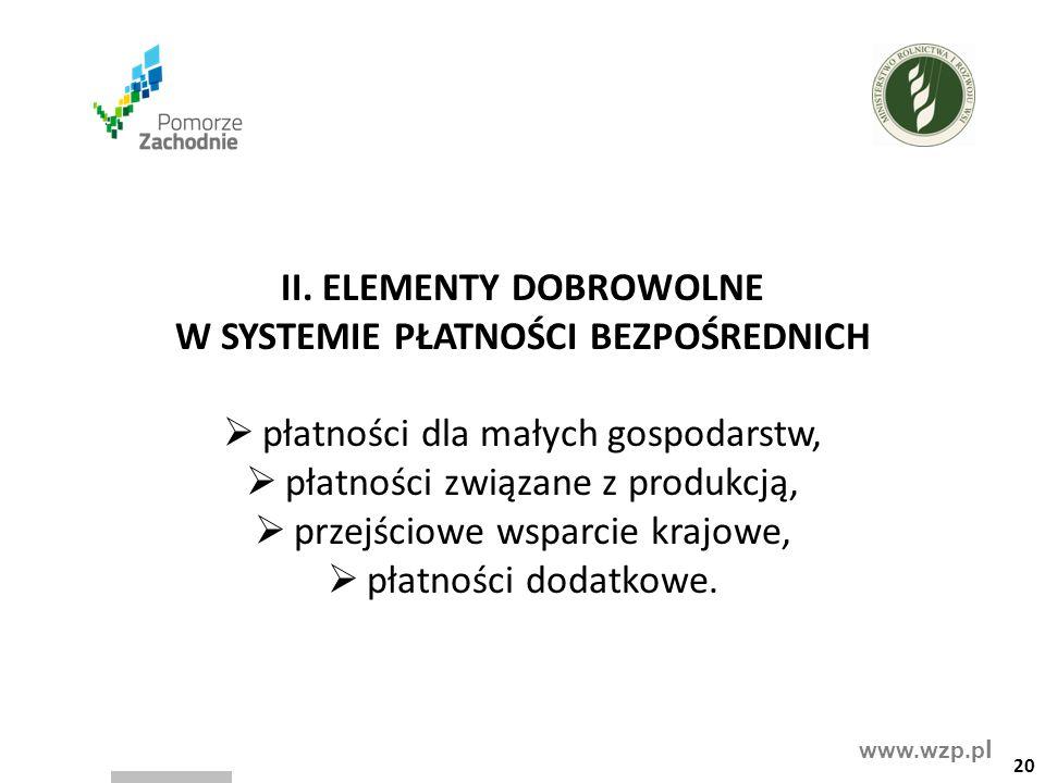 www.wzp.p l II. ELEMENTY DOBROWOLNE W SYSTEMIE PŁATNOŚCI BEZPOŚREDNICH  płatności dla małych gospodarstw,  płatności związane z produkcją,  przejśc