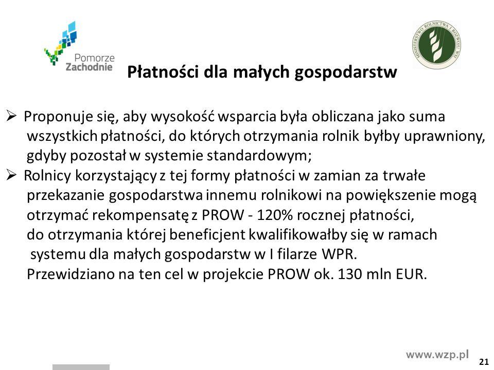 www.wzp.p l Płatności dla małych gospodarstw  Proponuje się, aby wysokość wsparcia była obliczana jako suma wszystkich płatności, do których otrzyman