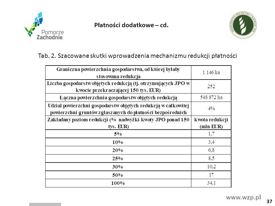 www.wzp.p l Tab. 2. Szacowane skutki wprowadzenia mechanizmu redukcji płatności 37 Płatności dodatkowe – cd.
