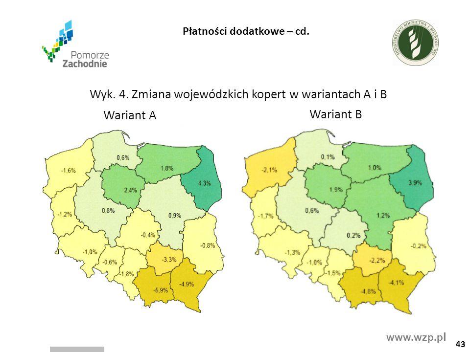 www.wzp.p l Wyk. 4. Zmiana wojewódzkich kopert w wariantach A i B 43 Płatności dodatkowe – cd. Wariant A Wariant B
