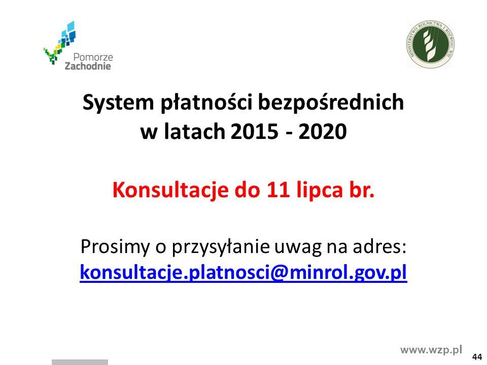 www.wzp.p l 44 System płatności bezpośrednich w latach 2015 - 2020 Konsultacje do 11 lipca br. Prosimy o przysyłanie uwag na adres: konsultacje.platno