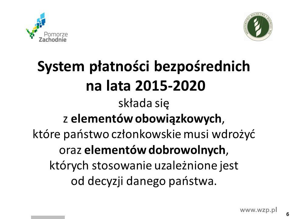 www.wzp.p l System płatności bezpośrednich na lata 2015-2020 składa się z elementów obowiązkowych, które państwo członkowskie musi wdrożyć oraz elementów dobrowolnych, których stosowanie uzależnione jest od decyzji danego państwa.