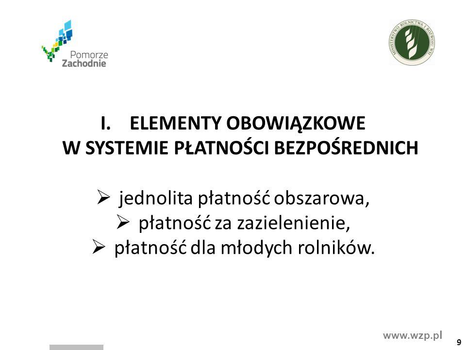 www.wzp.p l I.ELEMENTY OBOWIĄZKOWE W SYSTEMIE PŁATNOŚCI BEZPOŚREDNICH  jednolita płatność obszarowa,  płatność za zazielenienie,  płatność dla młod