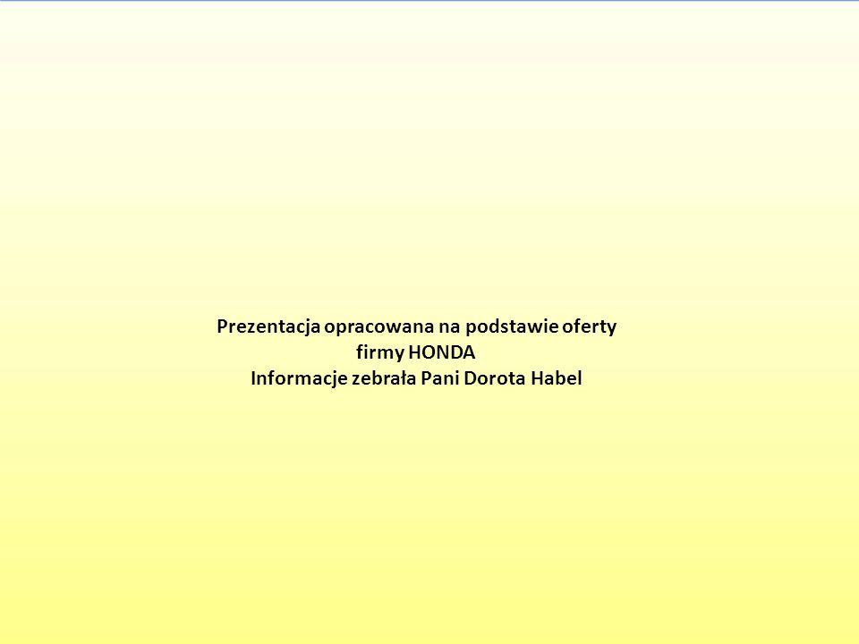 Prezentacja opracowana na podstawie oferty firmy HONDA Informacje zebrała Pani Dorota Habel