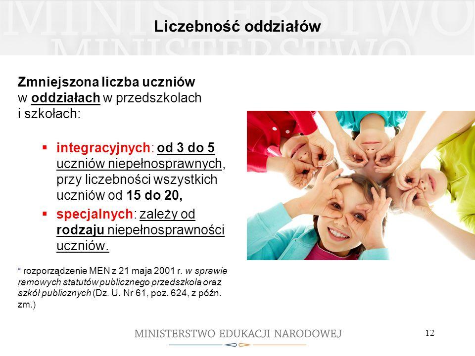 Liczebność oddziałów Zmniejszona liczba uczniów w oddziałach w przedszkolach i szkołach:  integracyjnych: od 3 do 5 uczniów niepełnosprawnych, przy l