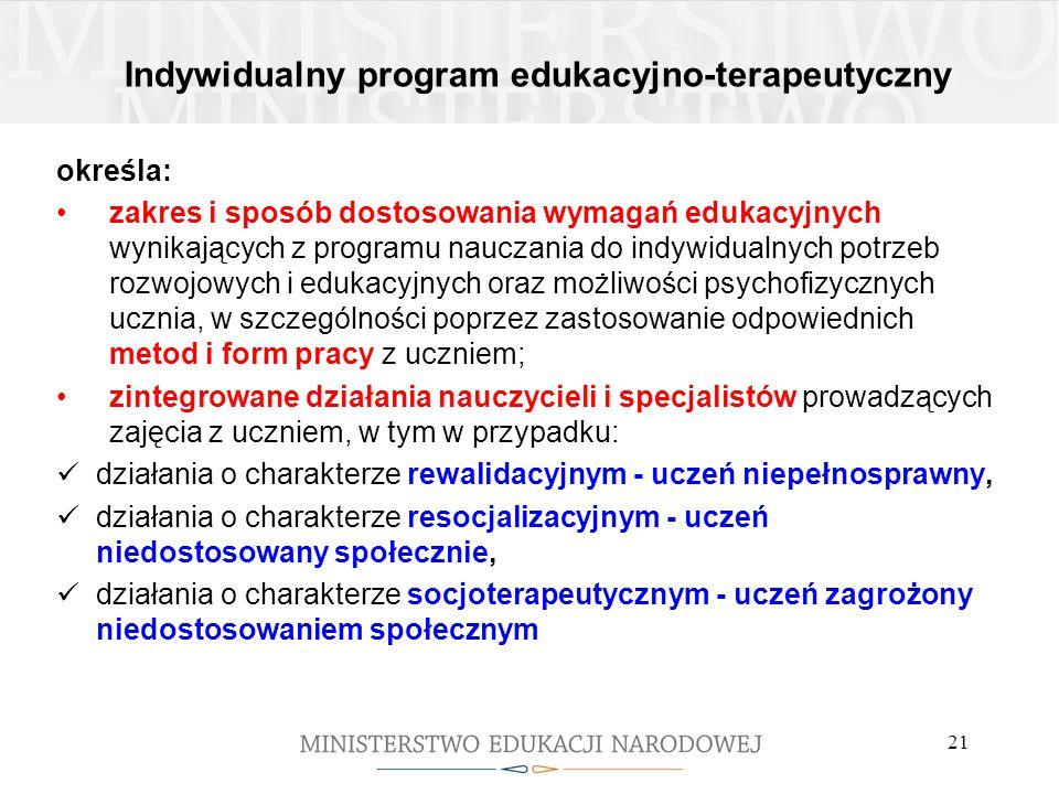 Indywidualny program edukacyjno-terapeutyczny określa: zakres i sposób dostosowania wymagań edukacyjnych wynikających z programu nauczania do indywidu