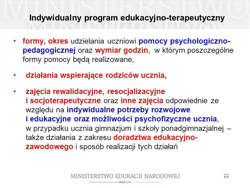 Indywidualny program edukacyjno-terapeutyczny formy, okres udzielania uczniowi pomocy psychologiczno- pedagogicznej oraz wymiar godzin, w którym poszc