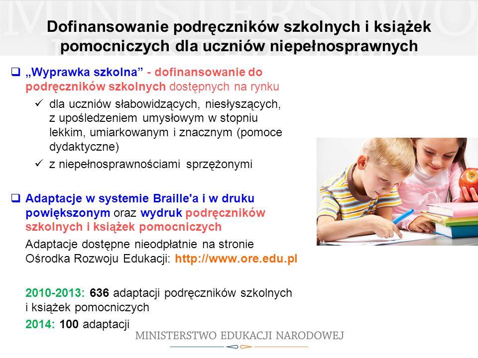 """Dofinansowanie podręczników szkolnych i książek pomocniczych dla uczniów niepełnosprawnych  """"Wyprawka szkolna"""" - dofinansowanie do podręczników szkol"""