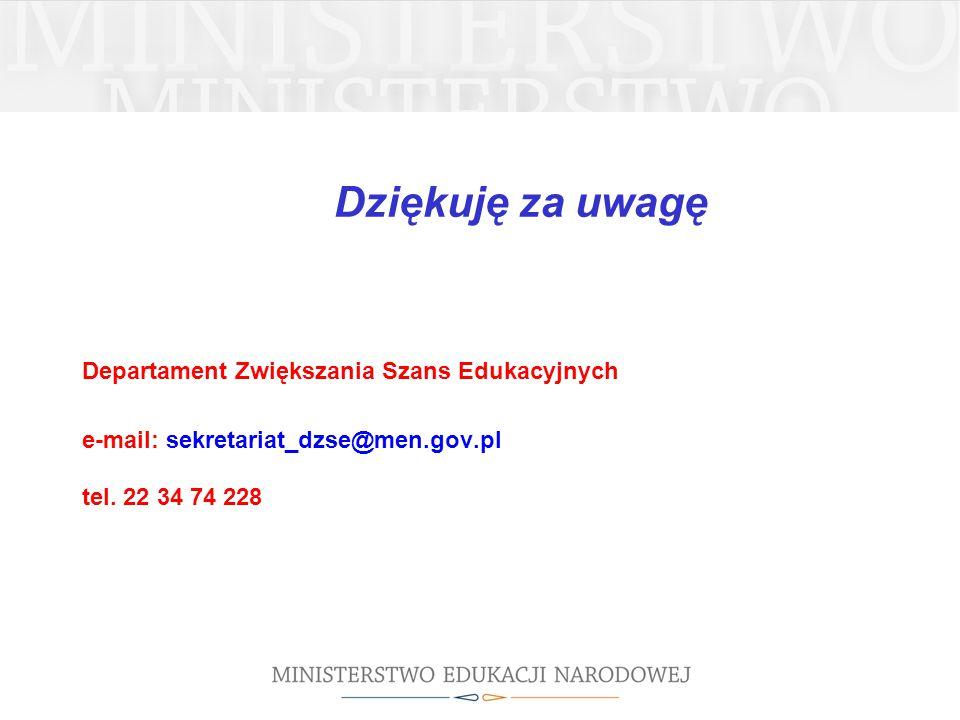 Dziękuję za uwagę Departament Zwiększania Szans Edukacyjnych e-mail: sekretariat_dzse@men.gov.pl tel. 22 34 74 228