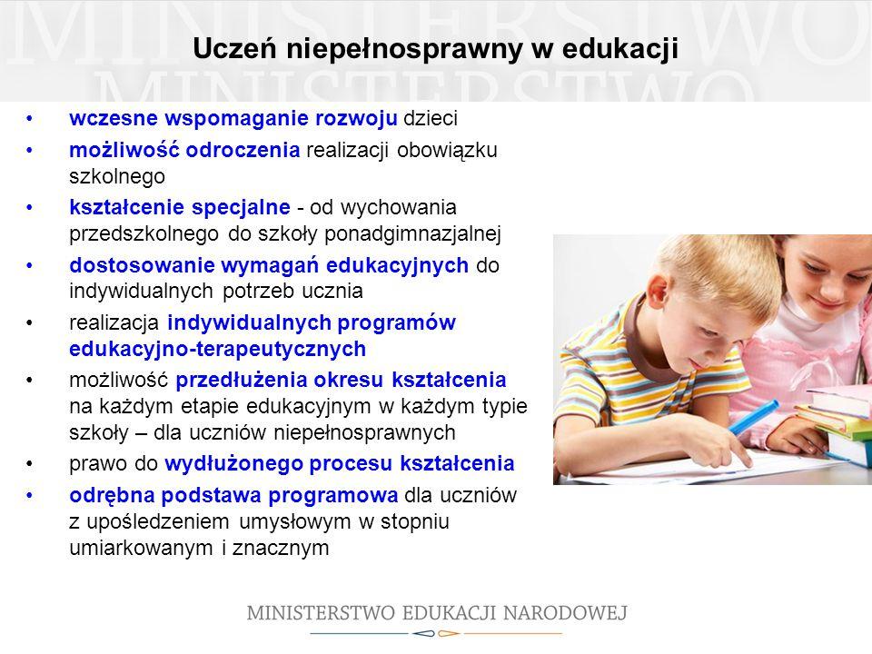 Uczeń niepełnosprawny w edukacji wczesne wspomaganie rozwoju dzieci możliwość odroczenia realizacji obowiązku szkolnego kształcenie specjalne - od wyc