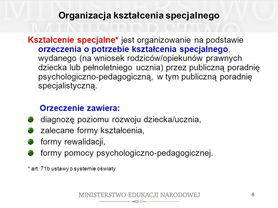 6 Organizacja kształcenia specjalnego Kształcenie specjalne* jest organizowanie na podstawie orzeczenia o potrzebie kształcenia specjalnego, wydanego