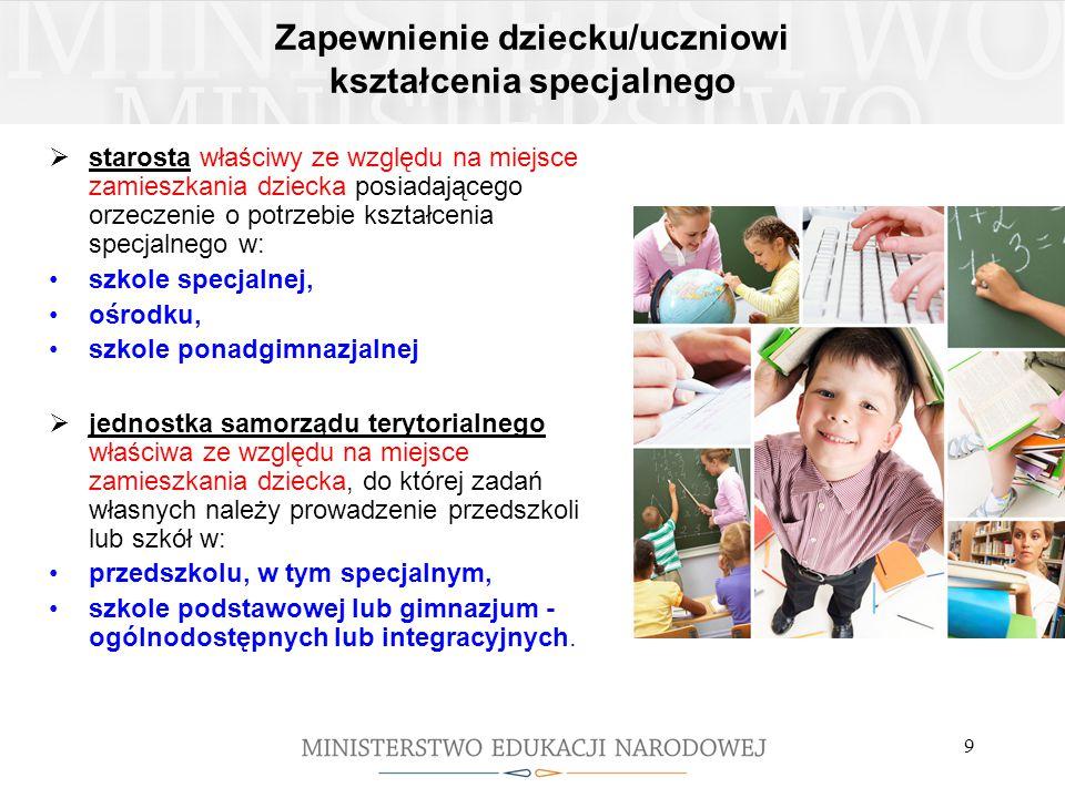 9 Zapewnienie dziecku/uczniowi kształcenia specjalnego  starosta właściwy ze względu na miejsce zamieszkania dziecka posiadającego orzeczenie o potrz