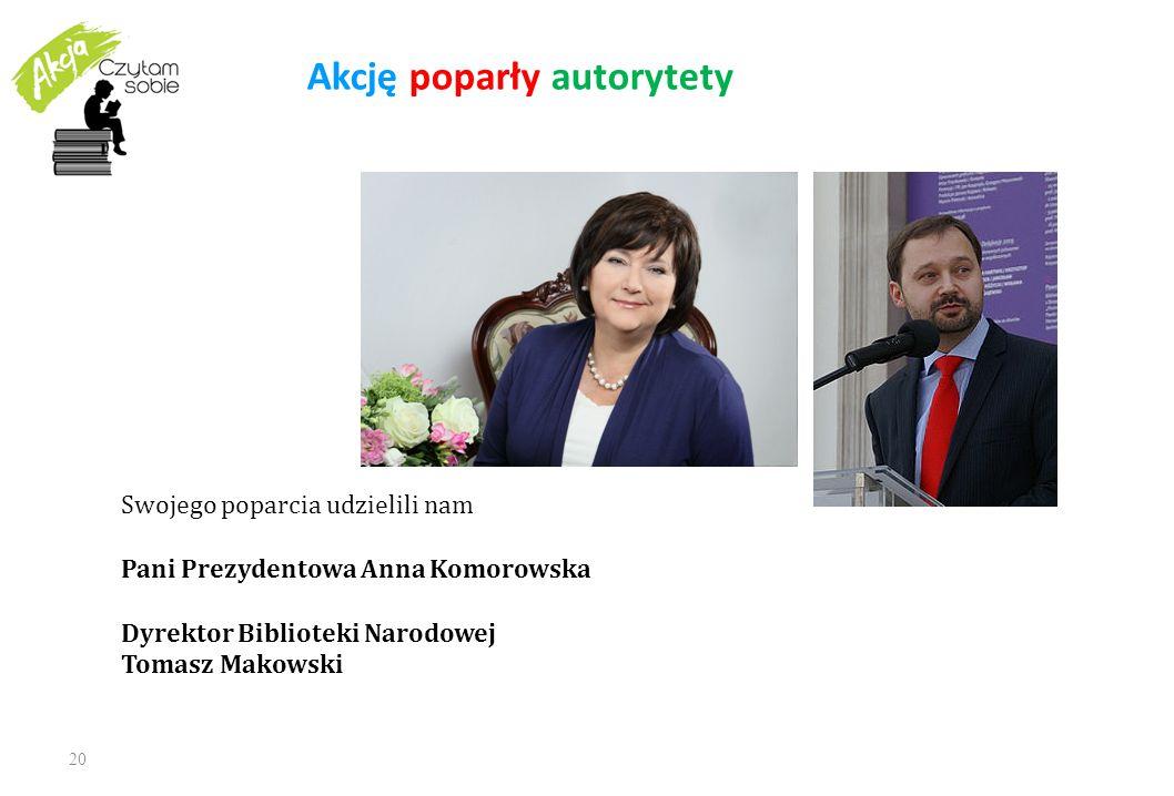 20 Akcję poparły autorytety Swojego poparcia udzielili nam Pani Prezydentowa Anna Komorowska Dyrektor Biblioteki Narodowej Tomasz Makowski