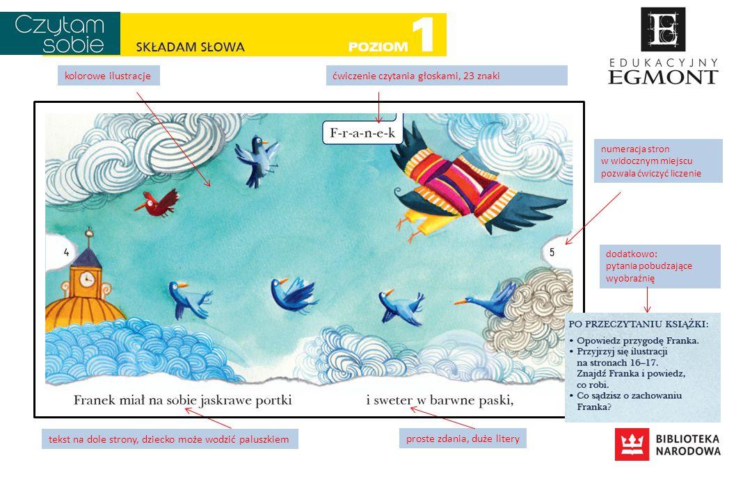 ćwiczenie czytania głoskami, 23 znaki tekst na dole strony, dziecko może wodzić paluszkiem proste zdania, duże litery kolorowe ilustracje numeracja st
