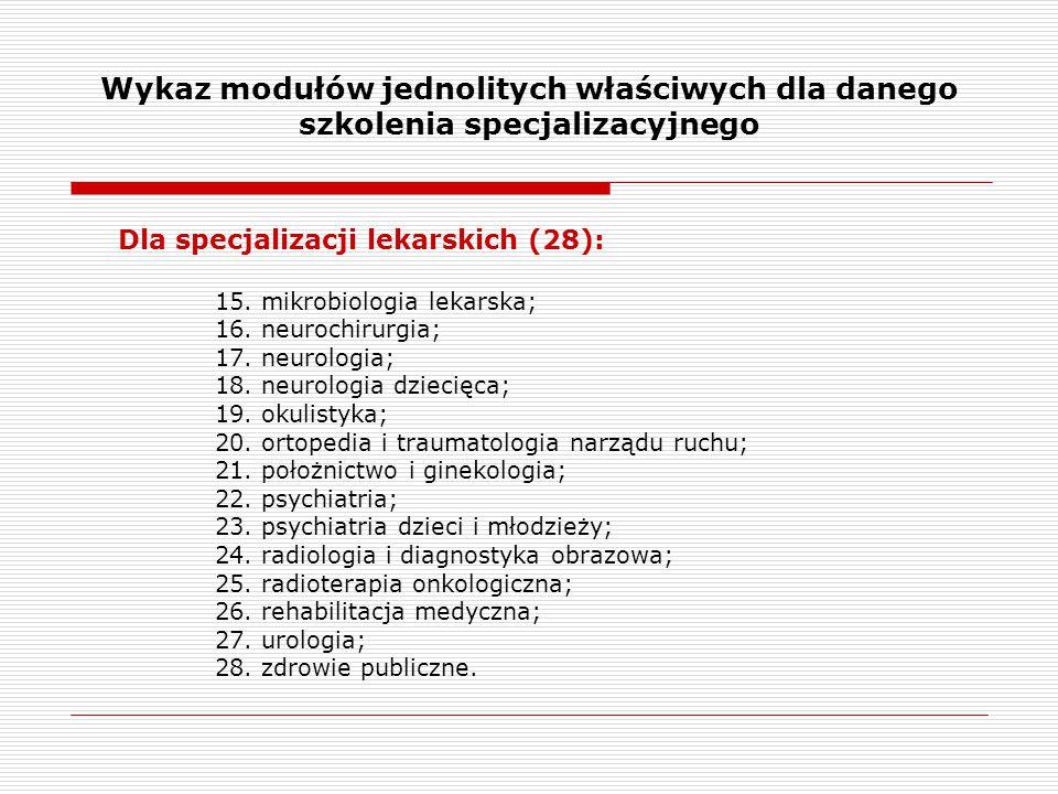 Wykaz modułów jednolitych właściwych dla danego szkolenia specjalizacyjnego Dla specjalizacji lekarskich (28): 15. mikrobiologia lekarska; 16. neuroch
