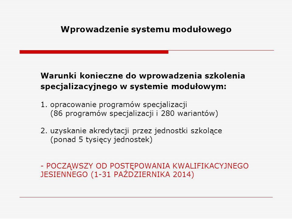 Wprowadzenie systemu modułowego Warunki konieczne do wprowadzenia szkolenia specjalizacyjnego w systemie modułowym: 1. opracowanie programów specjaliz