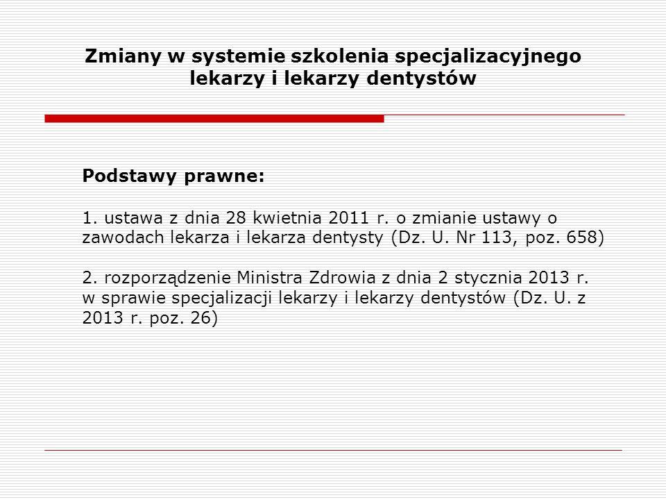 Zmiany w systemie szkolenia specjalizacyjnego lekarzy i lekarzy dentystów Podstawy prawne: 1. ustawa z dnia 28 kwietnia 2011 r. o zmianie ustawy o zaw