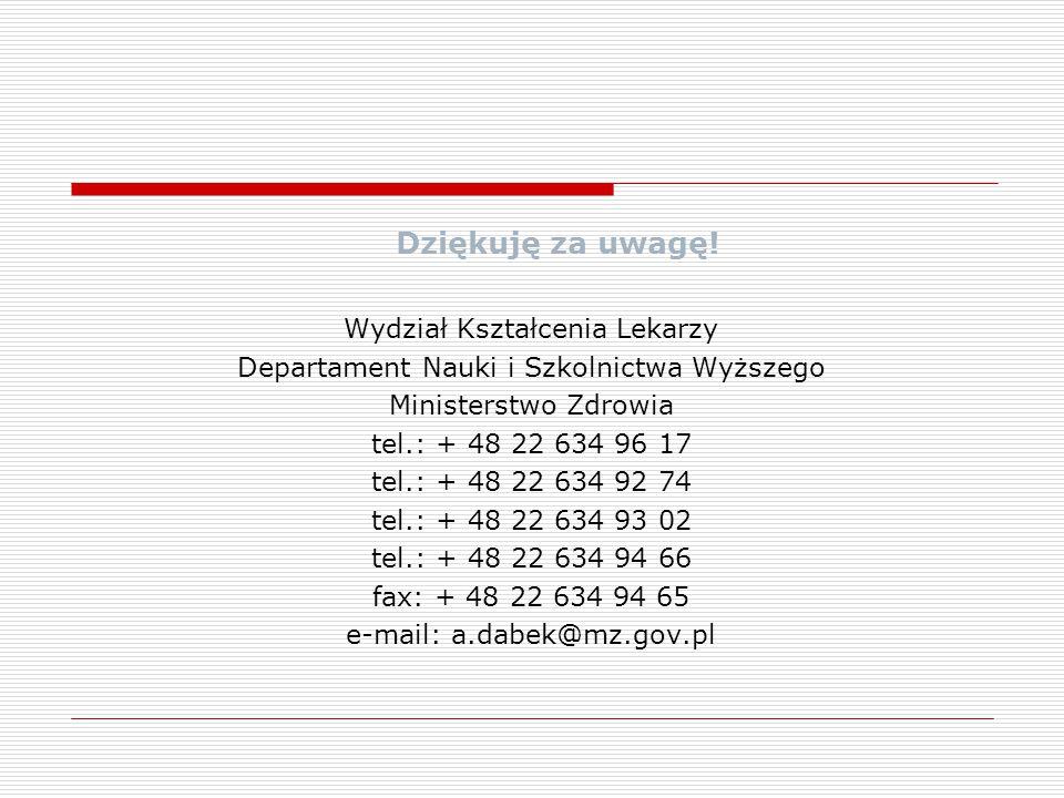 Dziękuję za uwagę! Wydział Kształcenia Lekarzy Departament Nauki i Szkolnictwa Wyższego Ministerstwo Zdrowia tel.: + 48 22 634 96 17 tel.: + 48 22 634