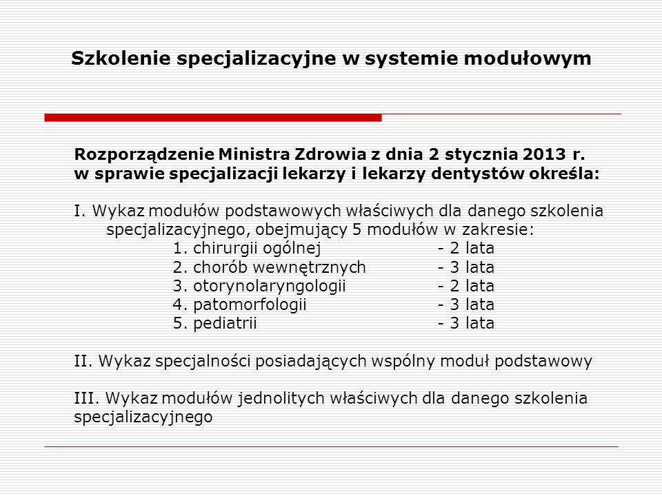 Szkolenie specjalizacyjne w systemie modułowym Rozporządzenie Ministra Zdrowia z dnia 2 stycznia 2013 r. w sprawie specjalizacji lekarzy i lekarzy den