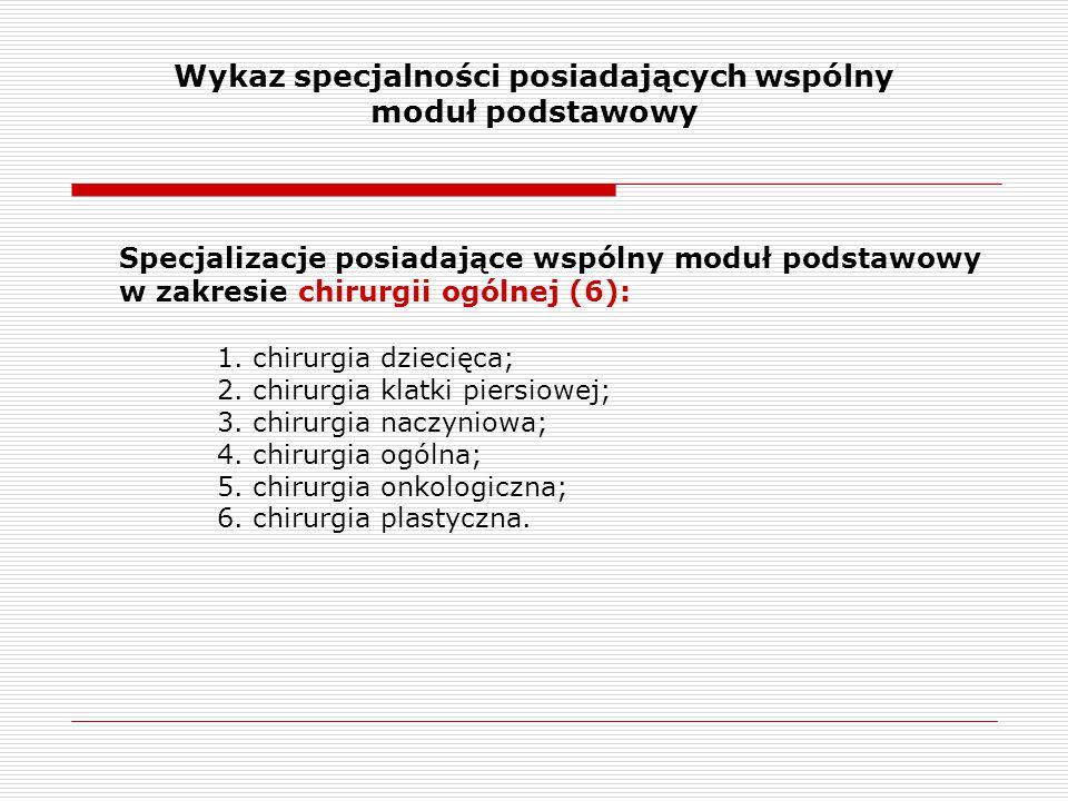 Wykaz specjalności posiadających wspólny moduł podstawowy Specjalizacje posiadające wspólny moduł podstawowy w zakresie chirurgii ogólnej (6): 1. chir