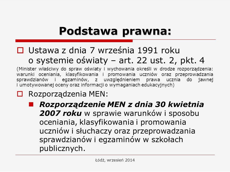 Łódź, wrzesień 2014 Podstawa prawna:  Ustawa z dnia 7 września 1991 roku o systemie oświaty – art. 22 ust. 2, pkt. 4 (Minister właściwy do spraw oświ