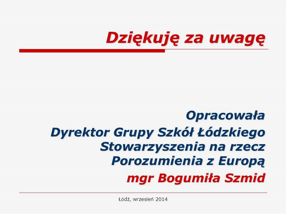 Dziękuję za uwagę Opracowała Dyrektor Grupy Szkół Łódzkiego Stowarzyszenia na rzecz Porozumienia z Europą mgr Bogumiła Szmid