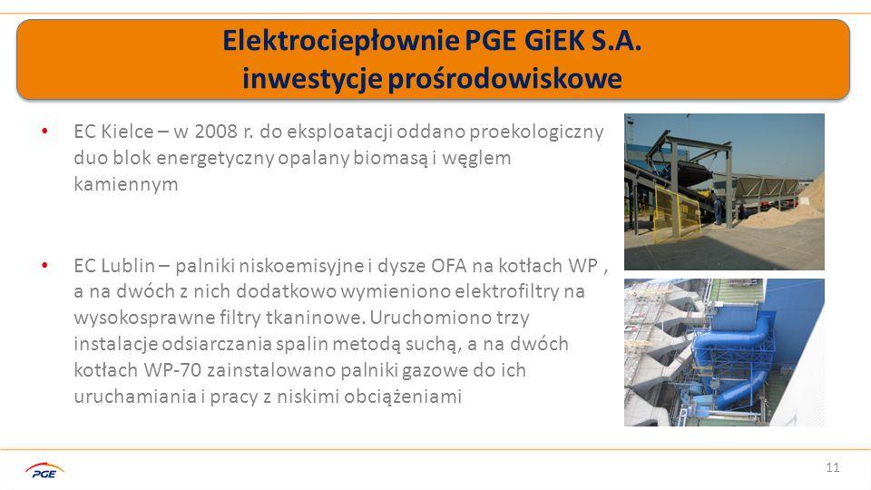 Elektrociepłownie PGE GiEK S.A. inwestycje prośrodowiskowe 11 EC Kielce – w 2008 r.