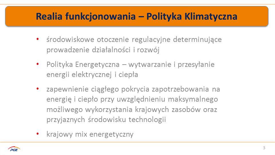 Realia funkcjonowania – Polityka Klimatyczna 3 środowiskowe otoczenie regulacyjne determinujące prowadzenie działalności i rozwój Polityka Energetyczna – wytwarzanie i przesyłanie energii elektrycznej i ciepła zapewnienie ciągłego pokrycia zapotrzebowania na energię i ciepło przy uwzględnieniu maksymalnego możliwego wykorzystania krajowych zasobów oraz przyjaznych środowisku technologii krajowy mix energetyczny