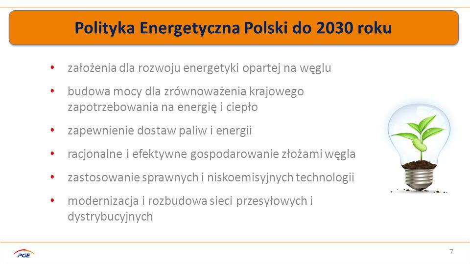 Polityka Energetyczna Polski do 2030 roku 7 założenia dla rozwoju energetyki opartej na węglu budowa mocy dla zrównoważenia krajowego zapotrzebowania na energię i ciepło zapewnienie dostaw paliw i energii racjonalne i efektywne gospodarowanie złożami węgla zastosowanie sprawnych i niskoemisyjnych technologii modernizacja i rozbudowa sieci przesyłowych i dystrybucyjnych