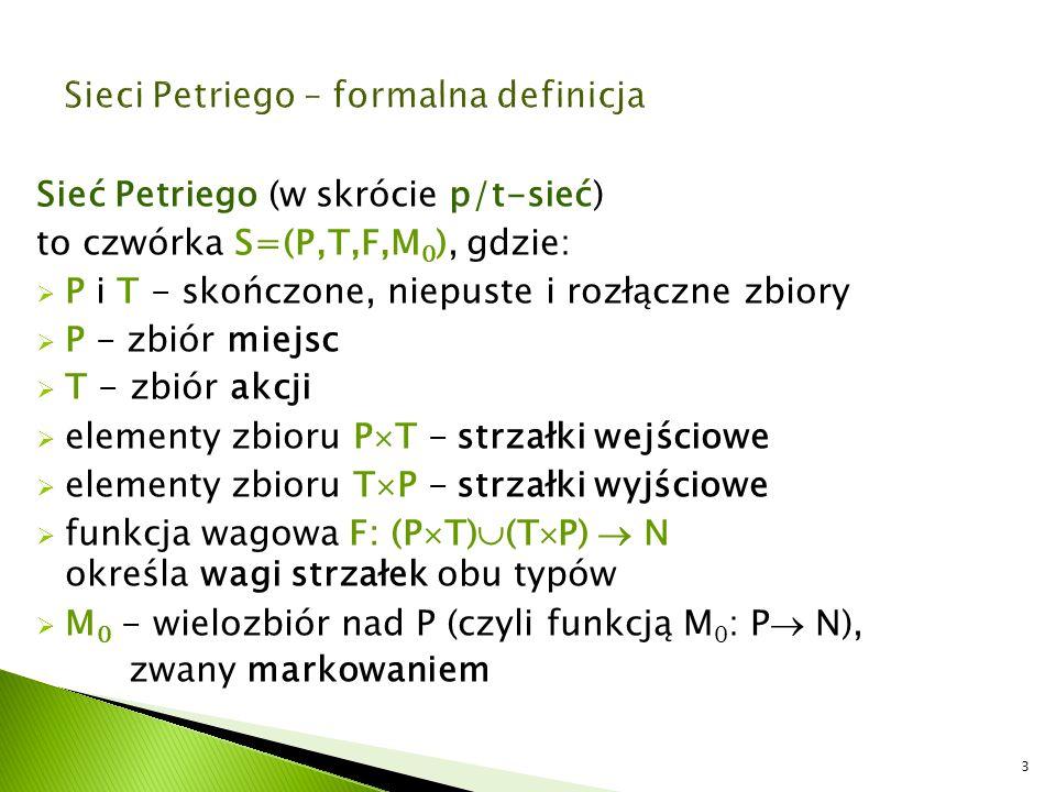 Sieć Petriego (w skrócie p/t-sieć) to czwórka S=(P,T,F,M 0 ), gdzie:  P i T - skończone, niepuste i rozłączne zbiory  P - zbiór miejsc  T - zbiór a
