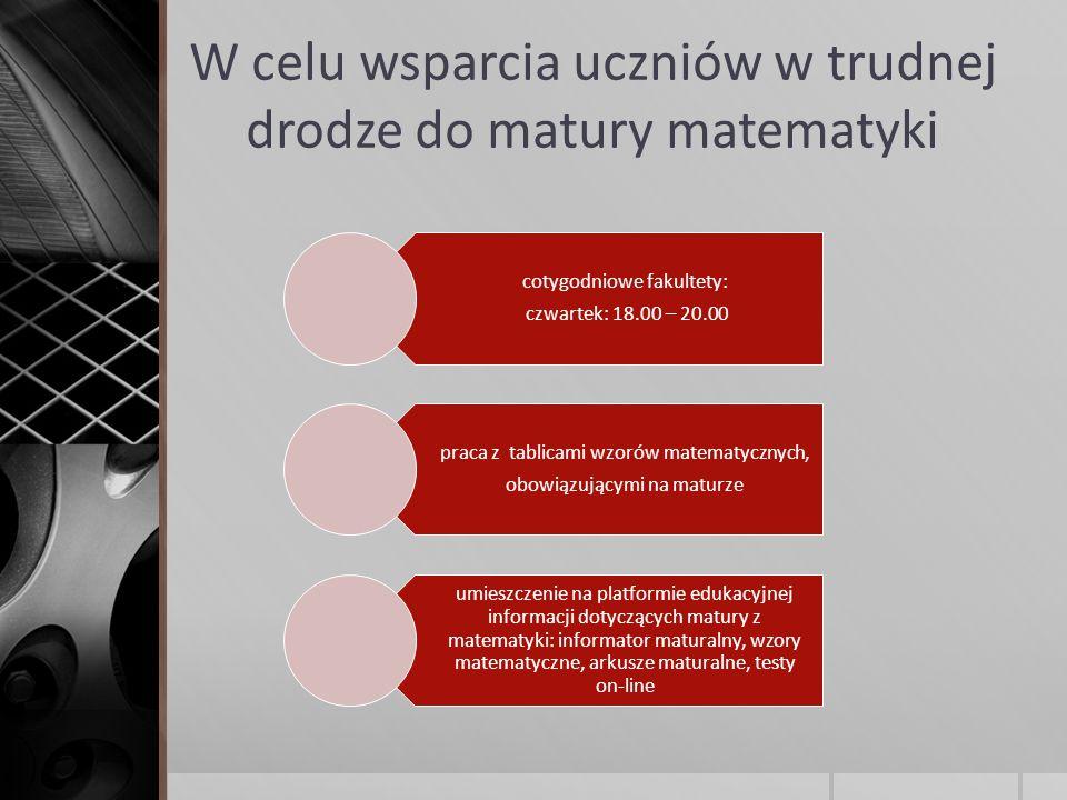 W celu wsparcia uczniów w trudnej drodze do matury matematyki cotygodniowe fakultety: czwartek: 18.00 – 20.00 praca z tablicami wzorów matematycznych, obowiązującymi na maturze umieszczenie na platformie edukacyjnej informacji dotyczących matury z matematyki: informator maturalny, wzory matematyczne, arkusze maturalne, testy on-line