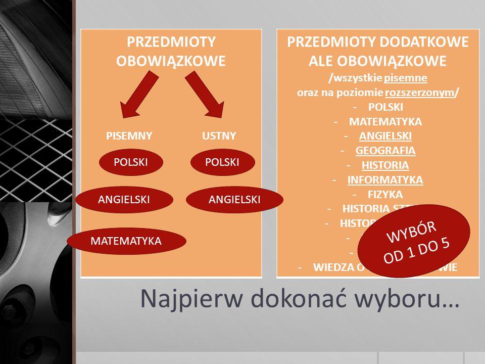 Najpierw dokonać wyboru… PRZEDMIOTY OBOWIĄZKOWE PISEMNY USTNY PRZEDMIOTY DODATKOWE ALE OBOWIĄZKOWE /wszystkie pisemne oraz na poziomie rozszerzonym/ -POLSKI -MATEMATYKA -ANGIELSKI -GEOGRAFIA -HISTORIA -INFORMATYKA -FIZYKA -HISTORIA SZTUKI -HISTORIA MUZYKI -BIOLOGIA -CHEMIA -WIEDZA O SPOŁECZEŃŚTWIE POLSKI ANGIELSKI MATEMATYKA POLSKI ANGIELSKI WYBÓR OD 1 DO 5