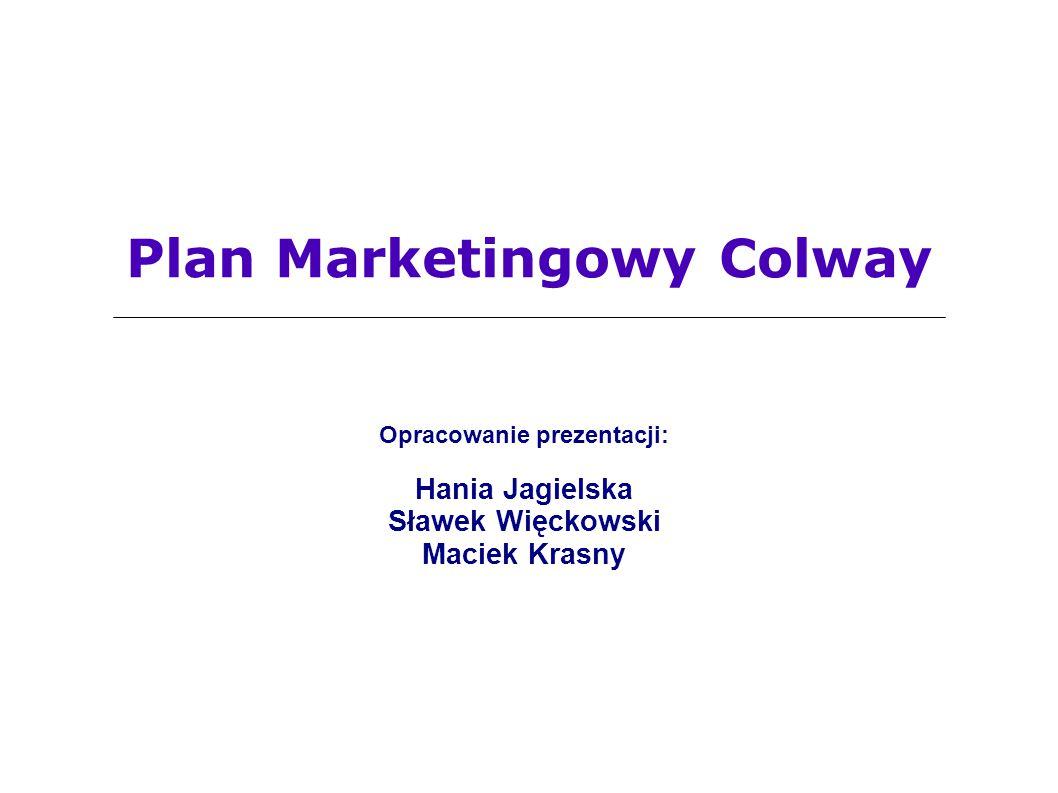 Plan Marketingowy Colway Opracowanie prezentacji: Hania Jagielska Sławek Więckowski Maciek Krasny