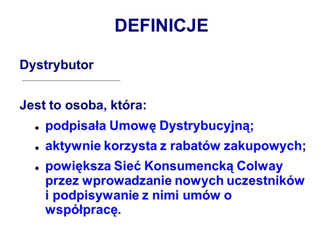 DEFINICJE Dystrybutor Jest to osoba, która: podpisała Umowę Dystrybucyjną; aktywnie korzysta z rabatów zakupowych; powiększa Sieć Konsumencką Colway przez wprowadzanie nowych uczestników i podpisywanie z nimi umów o współpracę.