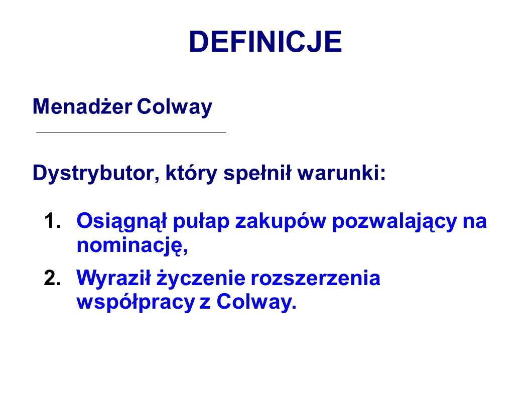 DEFINICJE Menadżer Colway Dystrybutor, który spełnił warunki: 1.Osiągnął pułap zakupów pozwalający na nominację, 2.Wyraził życzenie rozszerzenia współpracy z Colway.