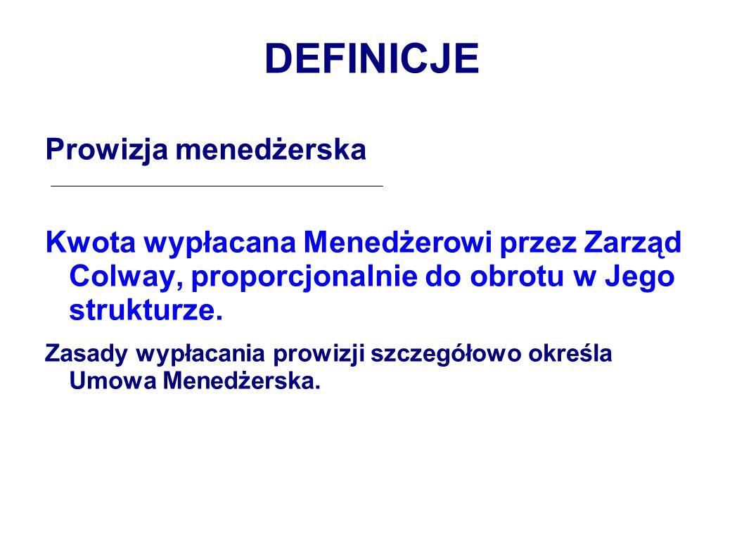 DEFINICJE Prowizja menedżerska Kwota wypłacana Menedżerowi przez Zarząd Colway, proporcjonalnie do obrotu w Jego strukturze.