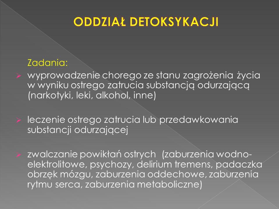 Zadania:  wyprowadzenie chorego ze stanu zagrożenia życia w wyniku ostrego zatrucia substancją odurzającą (narkotyki, leki, alkohol, inne)  leczenie