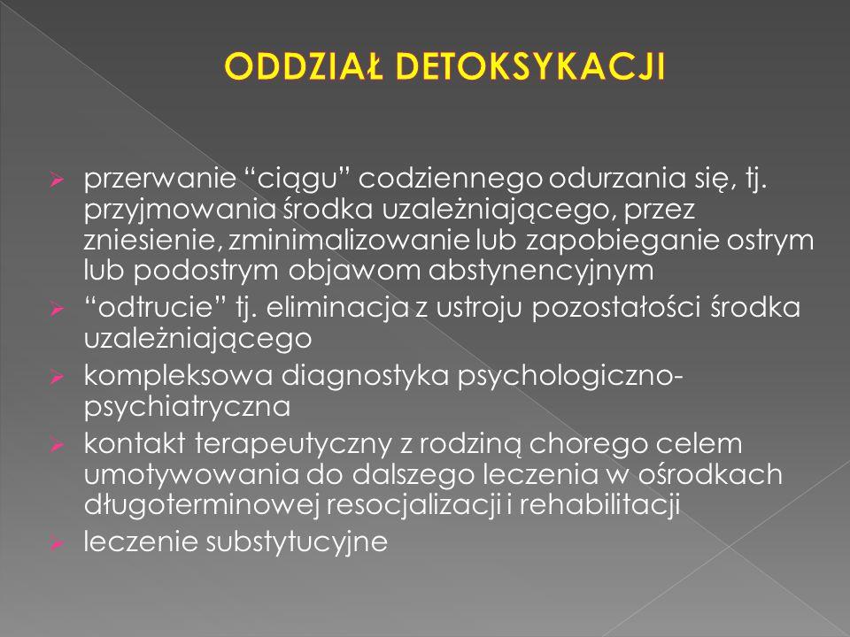 """ przerwanie """"ciągu"""" codziennego odurzania się, tj. przyjmowania środka uzależniającego, przez zniesienie, zminimalizowanie lub zapobieganie ostrym lu"""